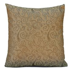 """Gold color Silk Blend Pillow Cover with Floral Pattern, 18"""" x 18"""", Decorative throw Pillow Cover, Modern pillow, Accent Pillow. Visit https://www.etsy.com/shop/SHPillows?ref=l2-shopheader-name to see the rest of our collection.  Thank you!!"""