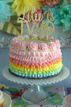 This rainbow cake is