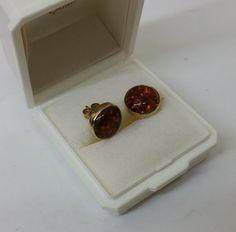 Vintage Ohrstecker - Ohrstecker Ohrringe rund Gold 333 Bernstein SO104 - ein Designerstück von Atelier-Regina bei DaWanda