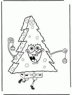 Spongebob Christmas Coloring Pages Free Printable For Kids