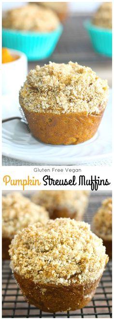 Gluten Free Pumpkin Streusel Muffins (vegan) Delicious pumpkin muffins with…