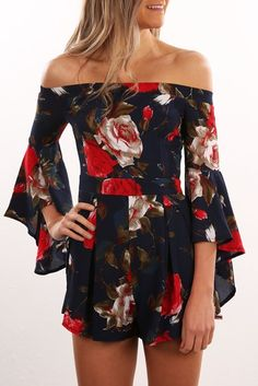 Floral Days Playsuit Navy Print
