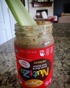 Let food be thy medicine.....and spoon too. Loving my celery spoon and @eatnuttzo #healthy #snack combo! Nothing to clean up after just eat up! #Nuttzo #llymi #peanutbutter #nuttzolove #eatrealfood #nomnom #crunch