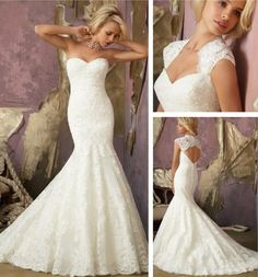 Dream dress- sweetheart neckline, strapless, deep-V in the back, mermaid style <3  Sweetheart Neckline Mermaid Wedding Dress (XZ723)   -without the sleeves