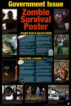 Survival Zombie Apocalypse:  Government Issue Zombie Survival Poster.