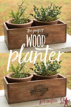 Elkhorn Herbs Planter with Two Pots Add this adorable planter to a window sill or among your other home decor. This planter is a wooden box with a black printed stamp on both sides. It measures 9 1/2x