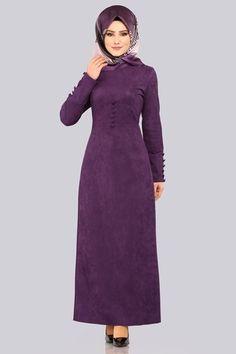 Aksesuar Düğmeli Süet Elbise YGS6181 Mor - Thumbnail Islamic Clothing, Hijab Dress, High Neck Dress, Clothes, Dresses, Fashion, Muslim Women, Turtleneck Dress, Outfits