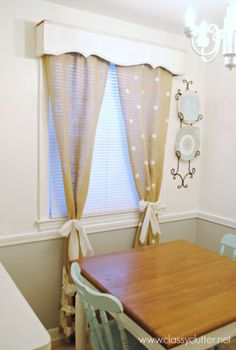 DIY Polka Dot Burlap Curtains -