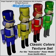 FREE Texture Set. Classic Colors Texture Set for the Nutcracker Poser Model from Smith-Micro. By Winterbrose.