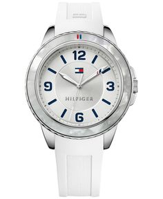 Tommy Hilfiger Women's White Silicone Strap Watch 40mm 1781541