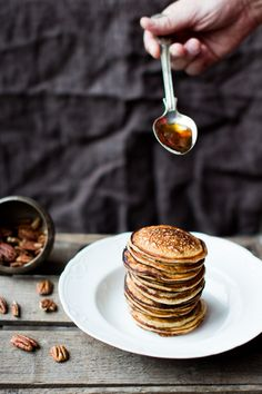 Spelt pancakes with pecan nuts and maple syrup. Crazy good!!