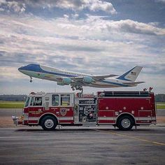 """FEATURED POST @durham_highwayfd - C shift had the opportunity to train at Raleigh Durham International Airport this morning with RDU CFR. The real treat of the morning was watching """"Air Force One"""" do some touch and goes for their training. While the President was not on board being able to see this aircraft land and take off multiple times was very remarkable."""