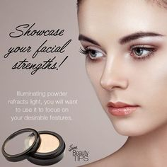 """""""Showcase your facial strengths!""""   Illuminating powder refracts light, you will want to use it to focus on your desirable features. #SiselTips #IlluminatingPowder #Strengths #Light #Makeup #SiselBeauty #MakeupArtist"""