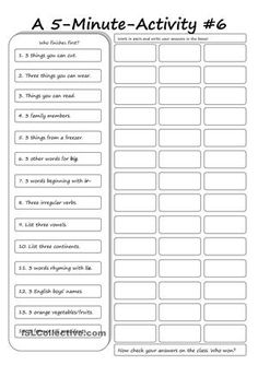 An activity sheet to be used in class. Can serve as a filler, a warmer, or simply an activity where focus is on expanding vocabulary.Have fun! - ESL worksheets