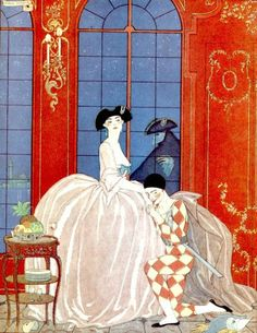 Theatrical Art DECO Print of Lady in Ball Gown by ArtdeLimaginaire, $10.00