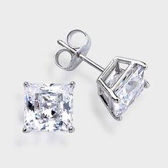 1 5 Ct Each Princess Cut 14k Stud Earring High Quality Cubic Zirconia Earrings