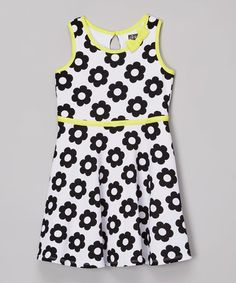 Another great find on #zulily! Black & Yellow Flower Bow Dress - Toddler & Girls #zulilyfinds