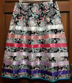 Ribbon skirt by Shawna Morgan Native American Clothing, Native American Fashion, Native Fashion, Style Indien, Traditional Skirts, Jingle Dress, Skirt Pattern Free, Ribbon Skirts, Ribbon Design