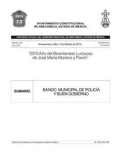 Bando Municipal de Policía y Buen Gobierno 2015  AMECAMECA #NuestroOrgullo #TrabajemosJuntos