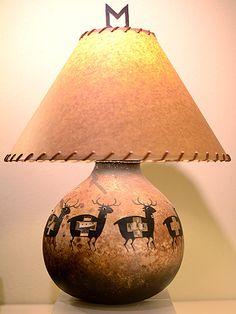 robert rivera gourd art | Base of lamp is deer gourd pot; lamp shade is handmade rawhide