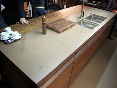 #Wood and engineered #stone wonderful mix in this #kitchen countertop