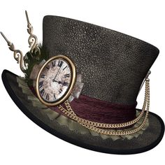 feli_btd_hat with clock.png ❤ liked on Polyvore featuring hats, steampunk, accessories and clocks