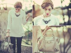 Zanzea Peplum Tunic, Primark Necklace, Balenciaga Motorcycle City Bag