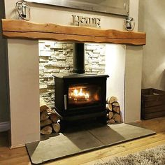Wood Burner Fireplace, Inglenook Fireplace, Home Fireplace, Fireplace Remodel, Living Room With Fireplace, Fireplace Design, Wood Stove Hearth, Cottage Fireplace, Fireplace Lighting