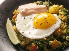 Great North African-style vegetarian dish from Joanne Chang's 'Flour, Too': Braised Chickpeas and Vegetables with Couscous, Harissa Yogurt, and Soft Eggs #recipe #vegetarian