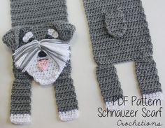 This listing is for the PATTERN ONLY for the Schnauzer Scarf. Not the finished product. This scarf was designed to resemble the popular and adorable dog breed, Schnauzer. This scarf would make the perfect gift for a friend or even just for yourself to show your love for your dog!