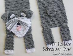 Crochet PATTERN - Schnauzer Scarf / Dog Breed Scarf, Puppy Scarf, Dog Scarf, Neck Warmer - PATTERN ONLY