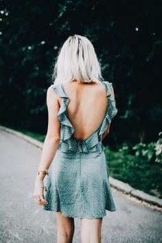 Loving the dreamy vibes of this ruffle low back dress!  INSTAGRAM: @eva_phan  GO TO: www.eva-darling.com