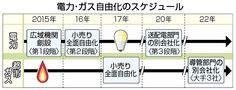 電力・ガス自由化のスケジュール