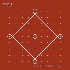9x9 Dot Rangoli Step 1