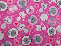 Lovely Kitty Cats Fabric By The Yard BTY by CutiePieCraftSupply