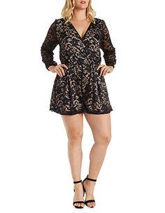 Plus Size Lace Long Sleeve Wrap Romper: Charlotte Russe