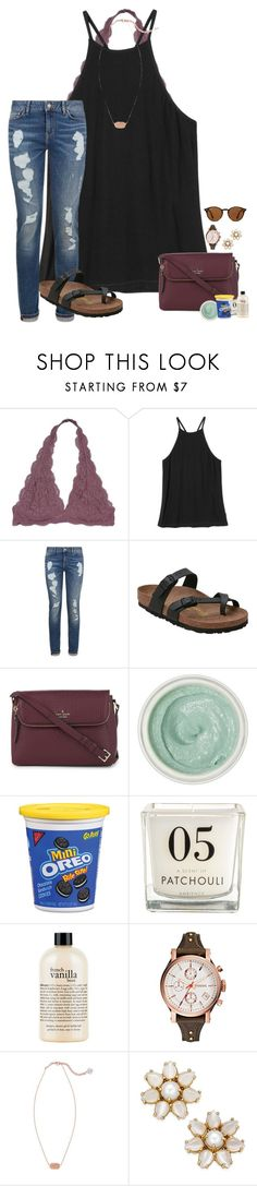 """~it only takes seconds for it all to change~"" by taylortinsley ❤ liked on Polyvore featuring RVCA, Tommy Hilfiger, Birkenstock, Kate Spade, Tracie Martyn, philosophy, FOSSIL, Kendra Scott and Ray-Ban"