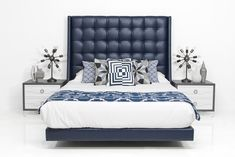 A home decor collage from January 2017 featuring navy blue headboard. Blue Headboard, Leather Headboard, Leather Bed, Navy Furniture, Leather Furniture, Bedroom Furniture, Modern Beds And Headboards, Modern Headboard, Modern Bedding