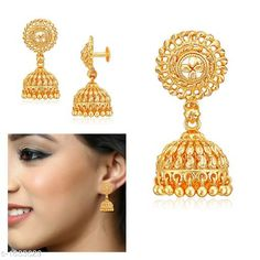 Earrings & Studs Designer Alloy Jhumki Material: Alloy Size: Free Size Plating: 22Kt Gold Plated Description: It Has 1 Pair Of Jhumki Work: Embellished Country of Origin: India Sizes Available: Free Size   Catalog Rating: ★4.2 (472)  Catalog Name: Diva Designer Alloy Jhumkis Vol 1 CatalogID_212736 C77-SC1091 Code: 671-1633629-543
