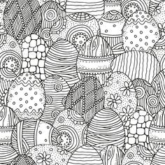 Seamless Pattern For Coloring Book Hand Drawn Decorative Elements In
