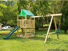 Free wooden playset / swing set plans.  This plan is on the easy side due to the fact that it uses off the shelf lumber and products. You can even purchase the slide and swing off the shelf at Lowe's or Home Depot.