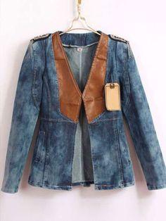 Fashion V-Neck Patchwork Denim Woman's Jacket