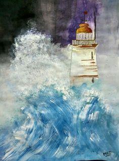Stormy Evening..!! #Painting #watercolorpainting #colors #blue #storm #hobby #weekendfun #diy