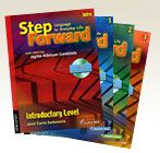 The Step Forward series offers multilevel English instruction that covers reading, writing, listening, and speaking.  This standards-based series emphasizes the language skills needed to be successful at work, at home, and in the community.  Need:  1 copy of each student book, workbook, lesson plans book in the series.,  Plus one copy of the Professional Development Handbook for our Community Literacy Resource Center.