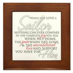 When you love a sailor, nothing can ever compare to the complete joy you feel when he's home, the pain when he's gone, and the unconditional love and support you have for him. Military Girlfriend, Navy Military, Military Spouse, Navy Life, Navy Mom, Navy Wife Quotes, Hubby Love, My Love, Husband