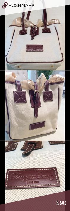 NWOT Dooney & Bourke Tote M dim size cream tote with dark brown leather straps and brand patch, gold bottom studs. 10.5 inch height, 10-inch width and 6-inch depth from front to back. New! Scarf not included Dooney & Bourke Bags Totes