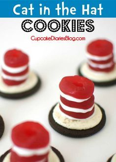 Cat in the Hat Cookies #drseuss #cookie   CupcakeDiariesBlog.com {Perfect for a Dr. Seuss birthday party or Read Across America Day!}