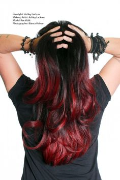 oh hell yeah! ombre hair, black and red - may get this when I grow it a bit longer Red Ombre Hair, Red Black Hair, Ruby Red Hair, Black Ombre, Before Wedding, Grunge Hair, Hair Today, Hair Dos, Hair Hacks