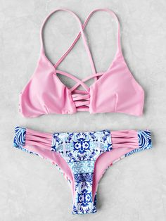 Shop Contrast Printed Crisscross Bikini Set online. SheIn offers Contrast Printed Crisscross Bikini Set & more to fit your fashionable needs. ugh i wish my boobs would fit into this it's soooooO prettY