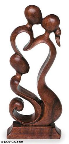 Wood sculpture, 'Loving Family' by NOVICA